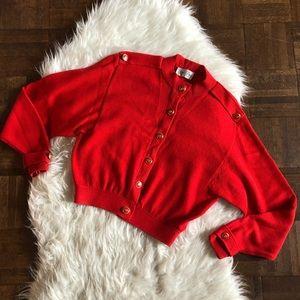 VTG 80s Marie St John Signature Red Cardi Sweater